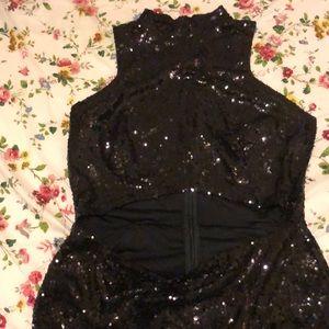 Shiny party or celebration black dress